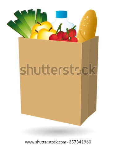 Shopping bag filled with food. Free delivery or nearby merchant vector icon. II - stock vector