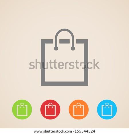shopping bag icon - stock vector