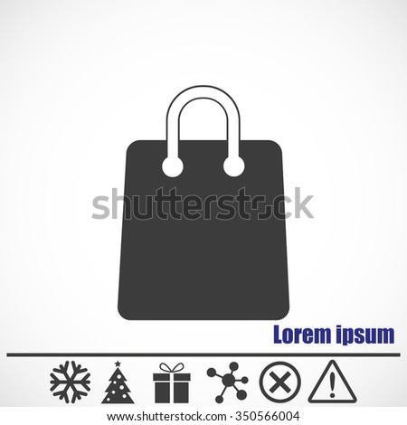 Shopping bag icon.Bonus icons: snowflake, Christmas tree, gift, molecule, delete icon and Hazard warning attention sign. - stock vector