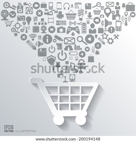 Shopping bag icon. Flat abstract background with web icons. Interface symbols. Cloud computing. Mobile devices.Business concept. - stock vector