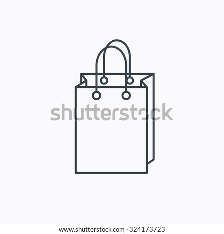 Shopping bag icon. Sale handbag sign. Linear outline icon on white background. Vector