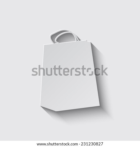 shopping bag icon with shadow on a grey background