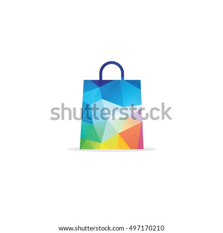 Shopping bag in low-poly triangular style for autumn sale and maple leaves made of dots and lines, polygonal bag,