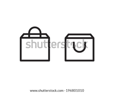 Shopping Bag Outline Icon Symbol - stock vector