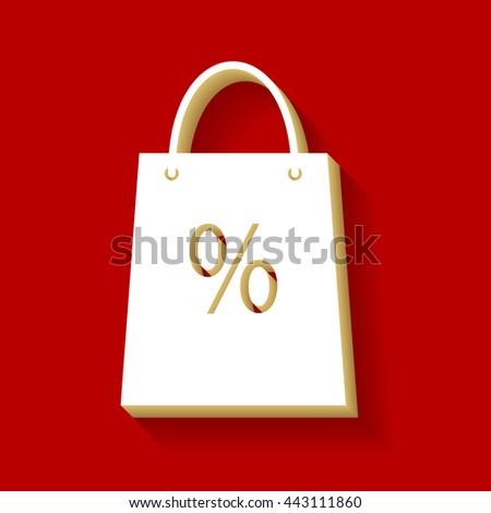 Shopping bag sign. White button icon with wood color and shadow on dark red background. - stock vector