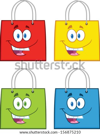 Shopping Bag Stars Cartoon Mascot Characters. Vector Collection Set - stock vector