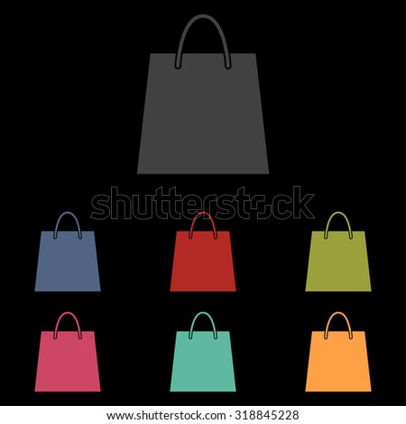 Shopping bag - Vector illustration isolated. Icon set