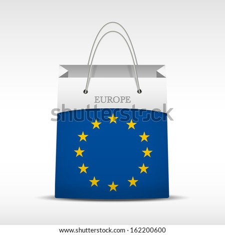 Shopping bag with Europe Union flag. Retail business vector object. Service and sale illustration. Symbol isolated and editable. - stock vector