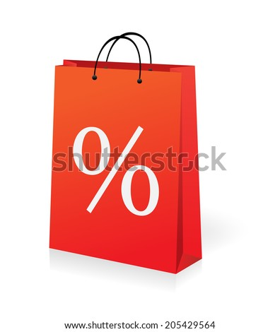 shopping bag with percent symbol - stock vector