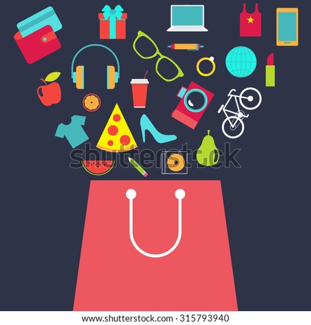 Shopping bag with purchase. Flat design vector background