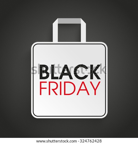 Shopping bag with text black friday on the dark background. Eps 10 vector file.