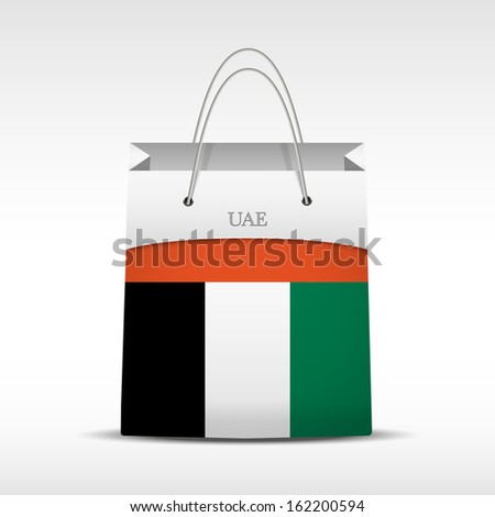 Shopping bag with Unites Arabian Emirates flag. Retail business vector object. Service and sale illustration. Symbol isolated and editable. - stock vector