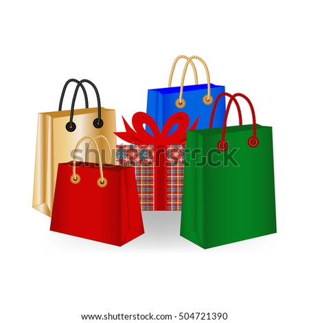 Shopping bags and gift, vector Illustration