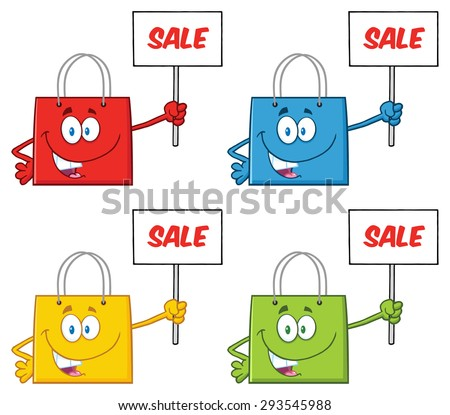 Shopping Bags Cartoon Character 2. Vector Collection Set - stock vector