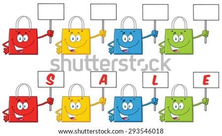 Shopping Bags Cartoon Character 4. Vector Collection Set - stock vector