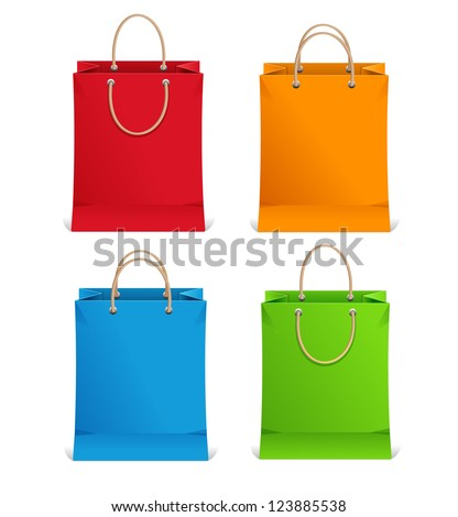 Shopping bags orange, blue, green and red - stock vector