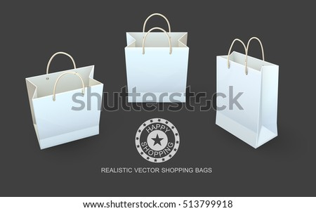 Shopping bags paper packaging for shopping goods and products transportation from shop or grocery. Realistic template mockup vector illustration. Shoppings concept Isolated dark transparent background
