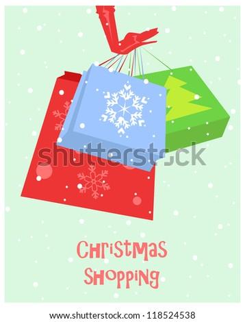 Shopping bags, Santa girl carrying bags, Christmas shopping. - stock vector