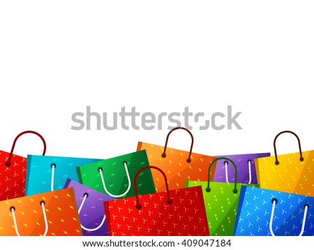 Illustration Shopping Bags Border Stock Vector 131062262 ...