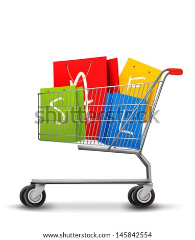 Shopping bags with sale in shopping cart. Concept of discount. Vector illustration. - stock vector