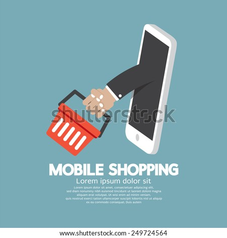 Shopping Basket Flying Out Mobile Phone Vector Illustration - stock vector