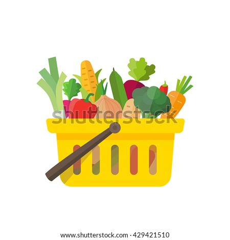 Shopping basket full of vegetables - can illustrate healthy lifestyle, vegan or vegetarian diet, raw food, healthy cooking. Also farming, fresh food and organic agriculture. - stock vector
