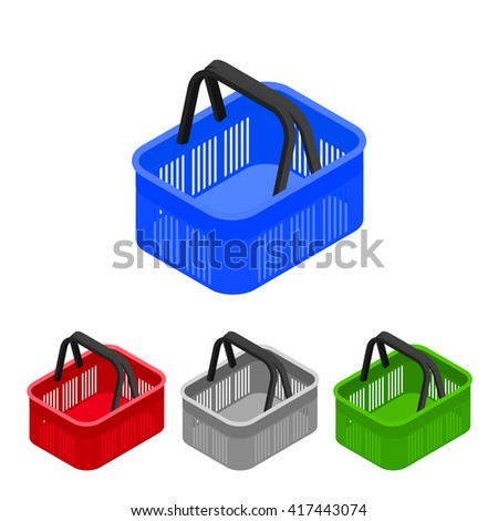 Shopping basket in supermarket and store. Flat isometric. Shopping cart icon for web shops. Vector illustration. - stock vector