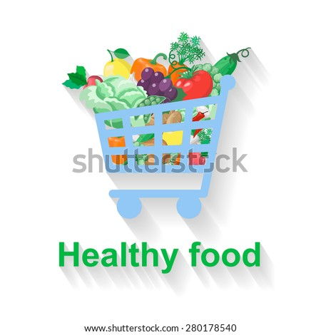 Shopping basket with healthy food vector flat illustration - stock vector