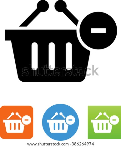 Shopping basket with minus symbol - stock vector