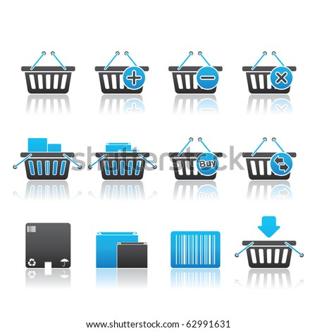 Shopping Baskets icon set 20 - Blue Series.  Vector EPS 8 format, easy to edit. - stock vector