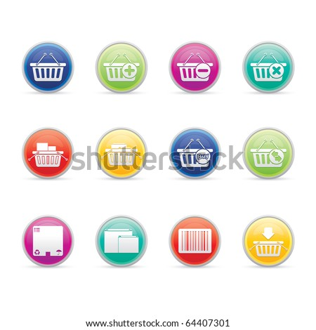 Shopping Baskets icon set 20 - Colored Buttons Series.  Vector EPS 8 format, easy to edit. - stock vector