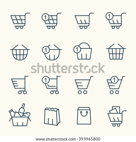 Shopping baskets line icons - stock vector
