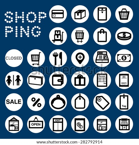 SHOPPING Black& white icons for shopping topic. line and vector as simply graphic can be adjusted and is easy to use. - stock vector