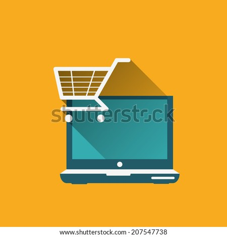 shopping cart and computer ( online shopping ) - stock vector