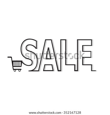 Shopping Cart and line text vector illustration