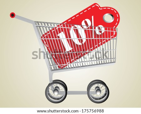 Shopping cart and red ten percentage discount - stock vector