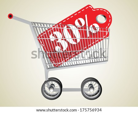 Shopping cart and red thirty percentage discount - stock vector