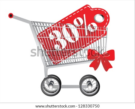 Shopping cart and red thirty percentage discount, isolated on white background. - stock vector
