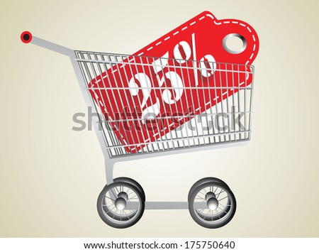 Shopping cart and red twenty five percentage discount - stock vector