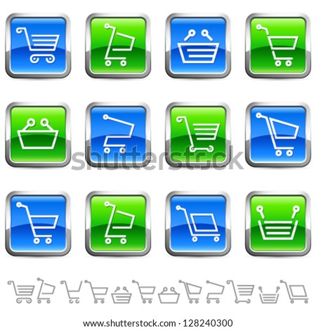 shopping cart buttons and icons - vector illustration