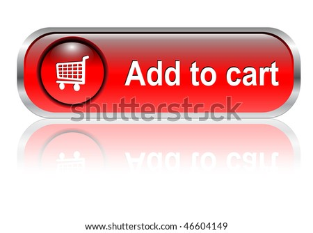 Shopping cart, buy icon button, red glossy with shadow, vector illustration - stock vector