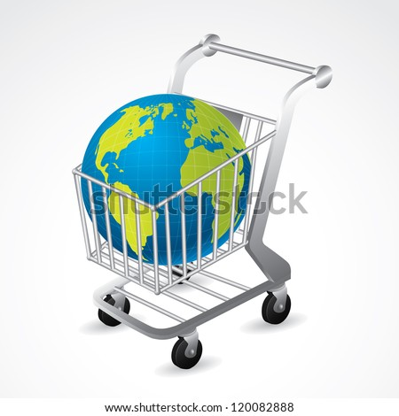 Shopping cart carrying the globe on white background - stock vector
