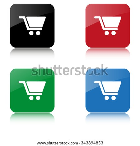 Shopping cart  - color vector icon  with shadow