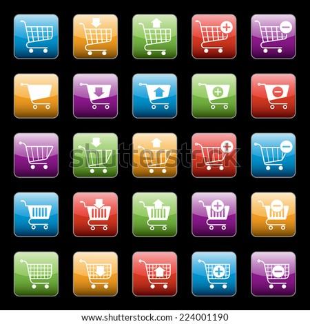 Shopping cart e-commerce web design elements buttons set isolated vector illustration