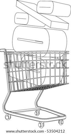 Shopping cart full of percentage - vector.