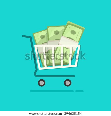 Shopping cart full pile of paper money vector cartoon illustration, ecommerce trolley with cash stack, concept of online internet sale, income, saving, commercial, financial flat design isolated - stock vector