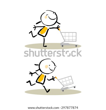 Shopping cart fun kids, cute vector illustration. Doodle stick figure style hand drawing.  - stock vector