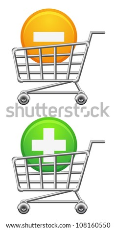shopping cart icon; button; sale; isolated vector illustration - stock vector