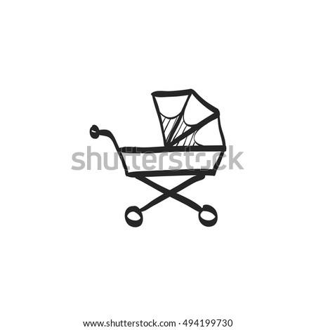 shopping cart coloring page - baby stroller icon flat color style stock vector 483545785