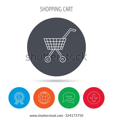 Shopping cart icon. Market buying sign. Globe, download and speech bubble buttons. Winner award symbol. Vector
